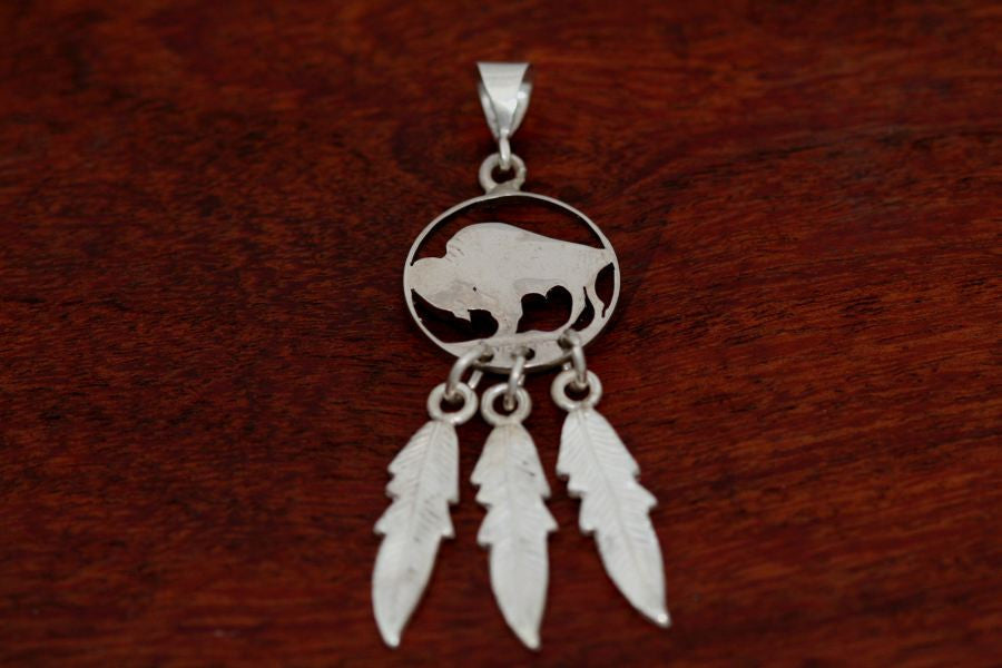Hand cut Buffalo Coin Pendant with Feathers