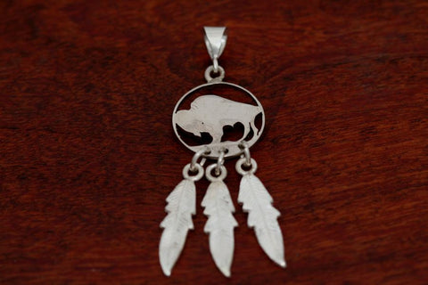 Buffalo or Indian Coin Pendant with Feathers