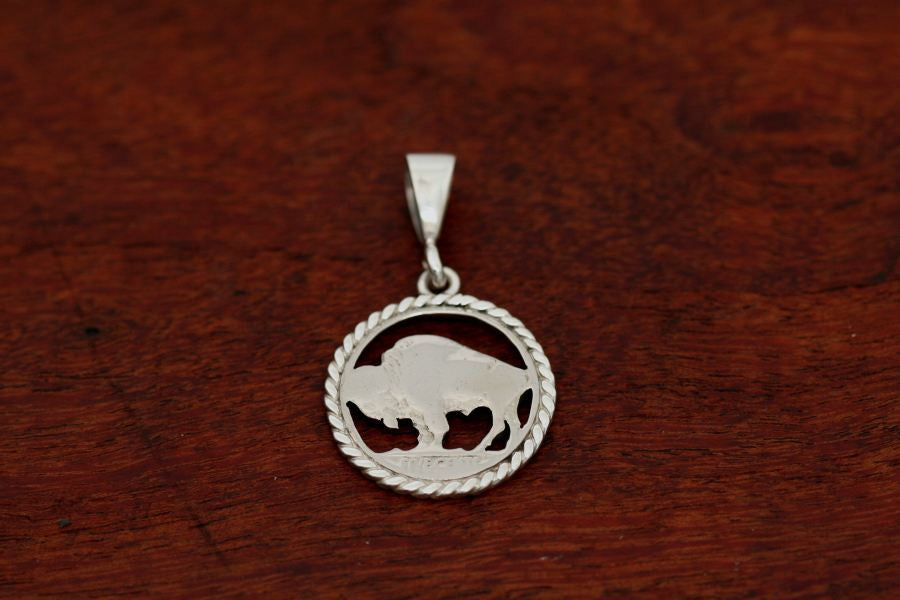 Hand cut Buffalo Coin Pendant with Sterling Silver Rope Trim