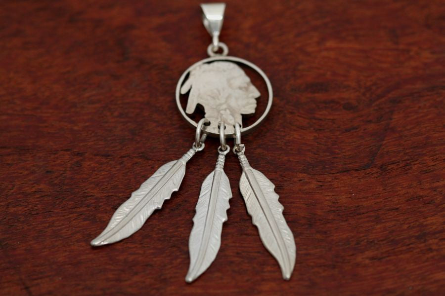 Hand cut Indian Coin Pendant with Feathers