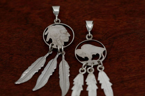 Hand cut Buffalo or Indian Coin Earrilngs with Feathers