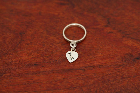 Heart Charm Ring - Stamped