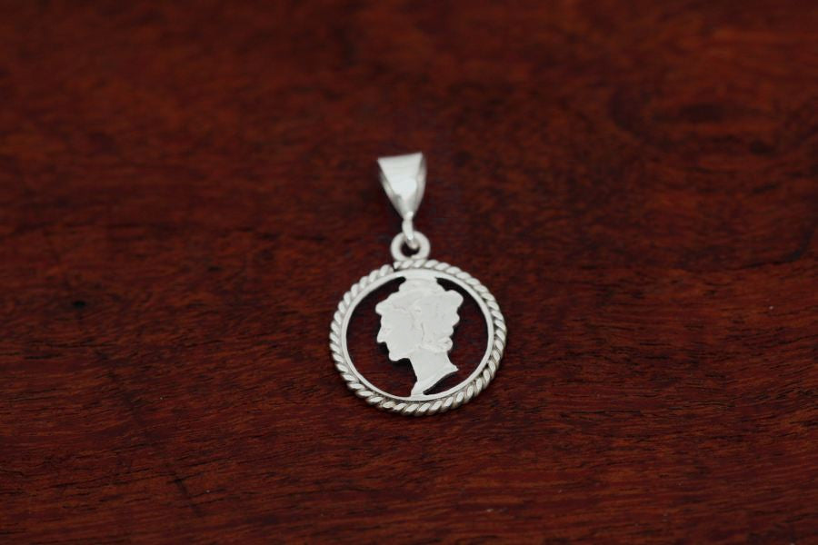 Mercury Dime Coin Pendant - Handcut with Sterling Silver Rope