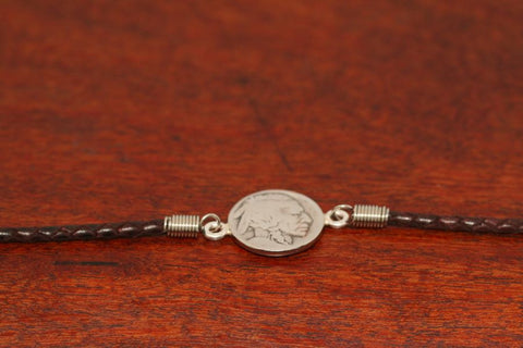 Indian Coin on a Leather Bracelet
