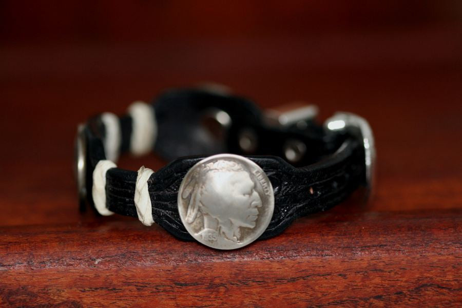 Indian Coin on a Leather Buckle Bracelet
