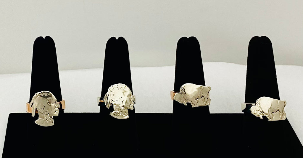 Buffalo & Indian Silhouette On Wedding Band Ring