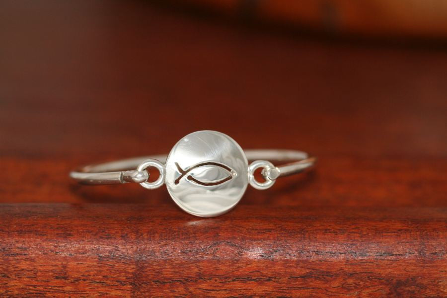 Small Christian Fish Disc-Charm on a Bangle Bracelet