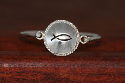 Large Christian Fish Disc with Rope Trim -Charm on a Bangle Bracelet