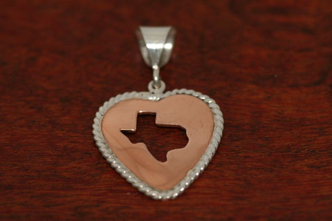Large Copper Heart with Silver Rope and Silhouette of Texas