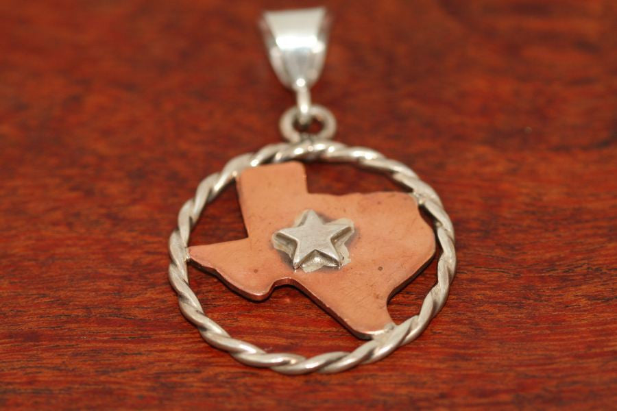 Large Copper Map with Sterling Rope & Star