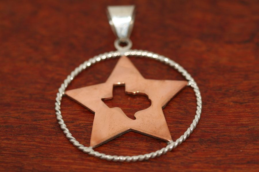 Large Copper Shooting Star with a Texas Map and Sterling Rope Trim