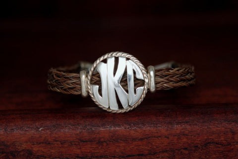 Large Monogram Charm with Rope Trim on a Casual Upscale Bracelet