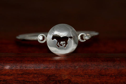 Large Running Horse Disc-Charm on a Bangle Bracelet