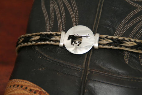 Large Running Horse Disc-Charm on a Boot Bracelet
