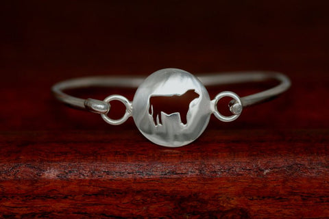 Large Steer Disc-Charm on a Bangle Bracelet