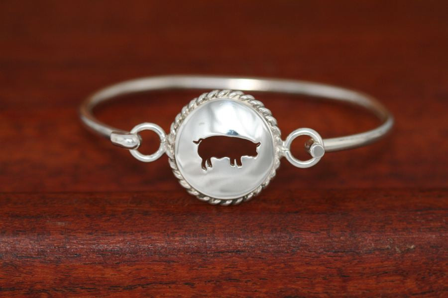 Large Swine Disc with Rope Trim -Charm on a Bangle Bracelet