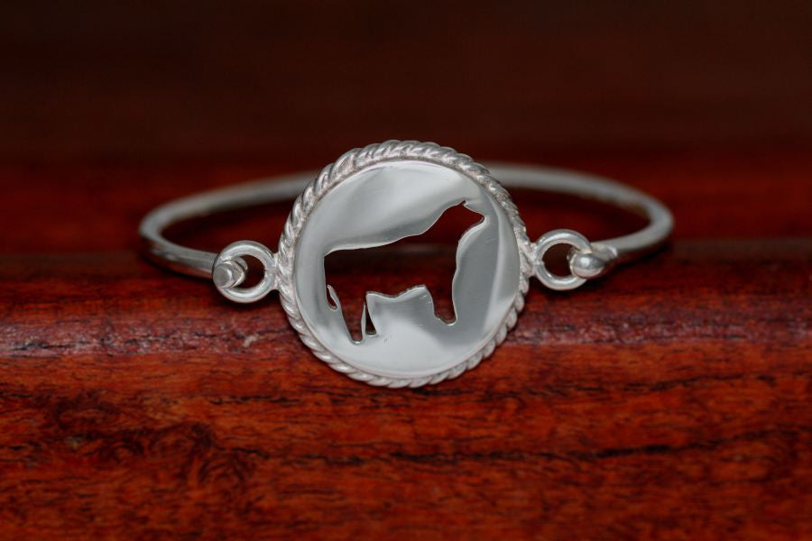 Large Steer Disc with Rope Trim -Charm on a Bangle Bracelet