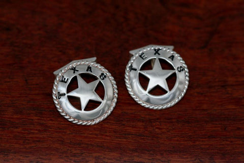 Large Texas Star Cuff Links with Rope Trim