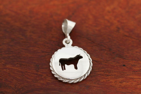 Large Steer Disc with Rope Trim -Pendant