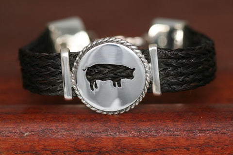 Large Swine Disc with Rope Trim -Charm on an Extra Large Upscale Bracelet