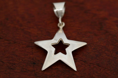 Large Star in Star Pendant in Sterling