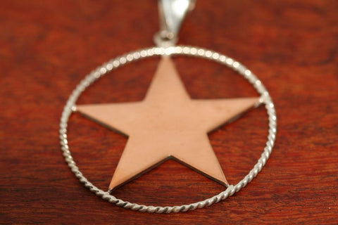 Large Shooting Star Pendant  in Copper with Rope Trim in Sterling