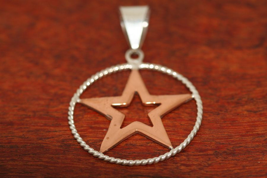 Large Star in Star Pendant  in Copper with Rope Trim in Sterling