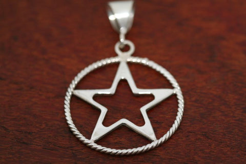 Large Star in Star Pendant with Rope Trim in Sterling