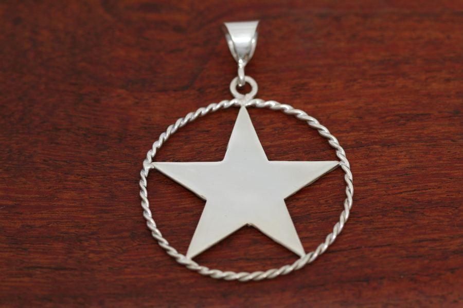 Large Shooting Star Pendant with Rope Trim in Sterling