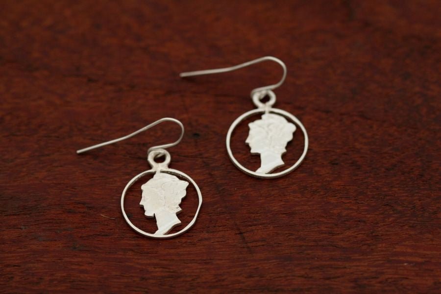 Mercury Dime Coin Earrings - Handcut