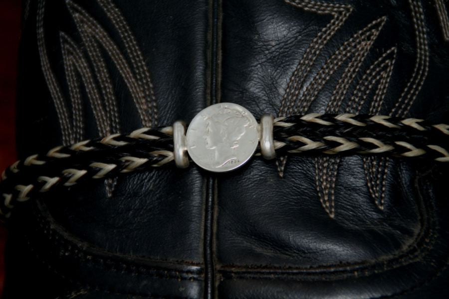 Mercury Dime on a Horsehair Boot Bracelet