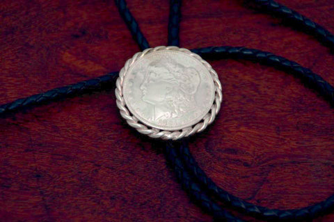 Morgan Silver Dollar with Rope on a Bolo