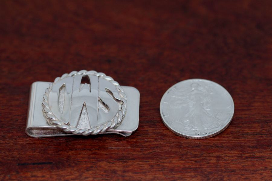 Monogram Money Clip-Extra-Large Disc with Rope Trim