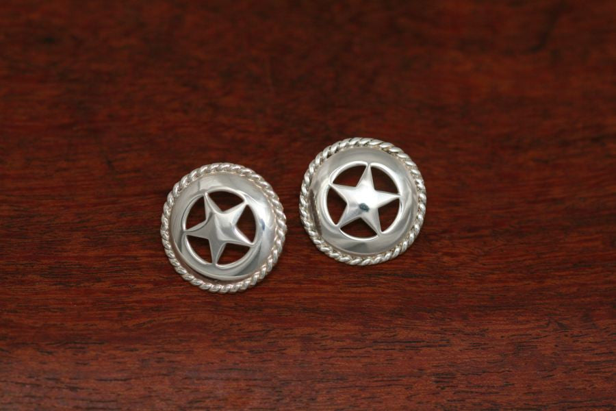 Medium Star Earrings with Rope Trim