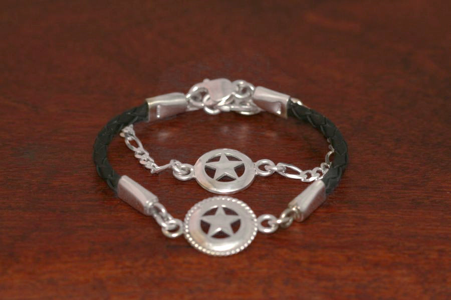 Medium Star on a Leather Bracelet