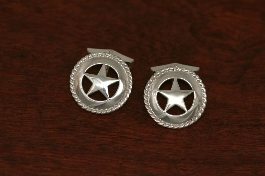 Medium Texas Star Cuff Links with Rope Trim