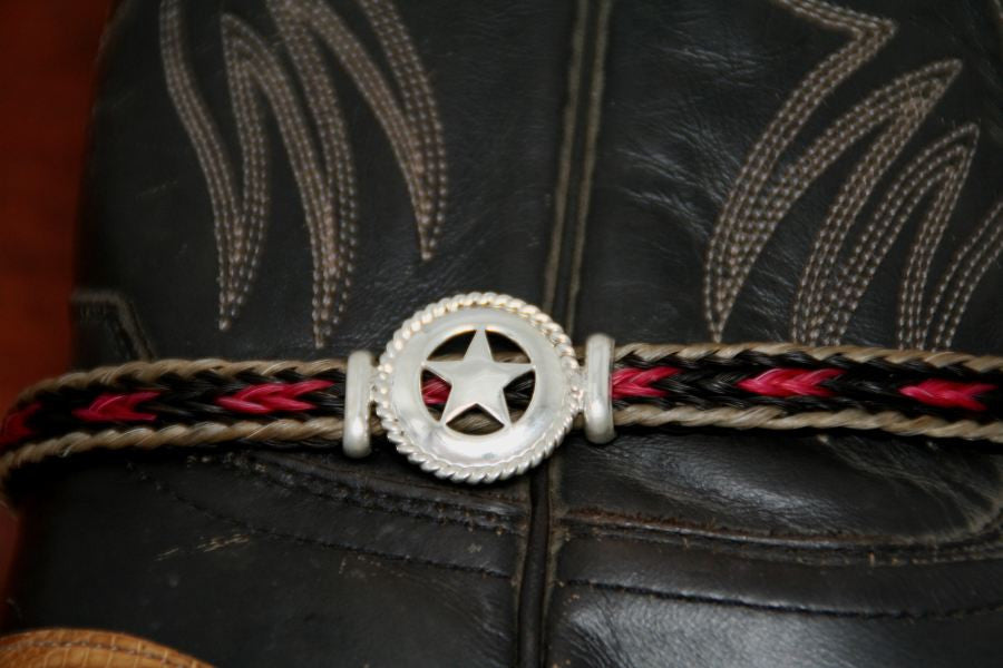 Medium Star with Rope Trim on a  Horsehair Boot Anklet