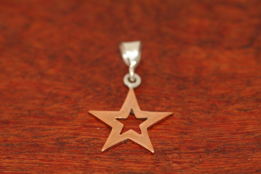 Medium Star in Star Pendant in Copper