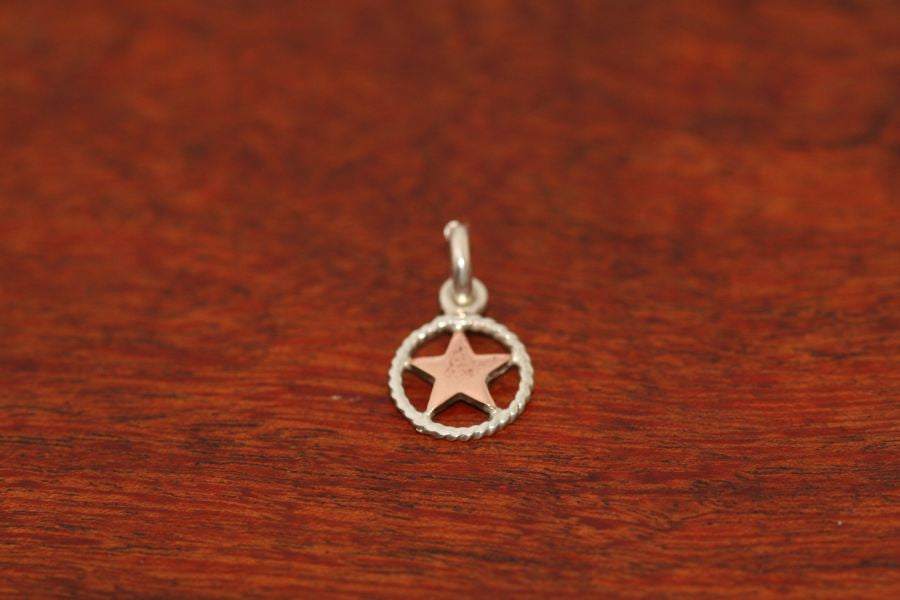 Mini Shooting Star Pendant  in Copper with Rope Trim in Sterling