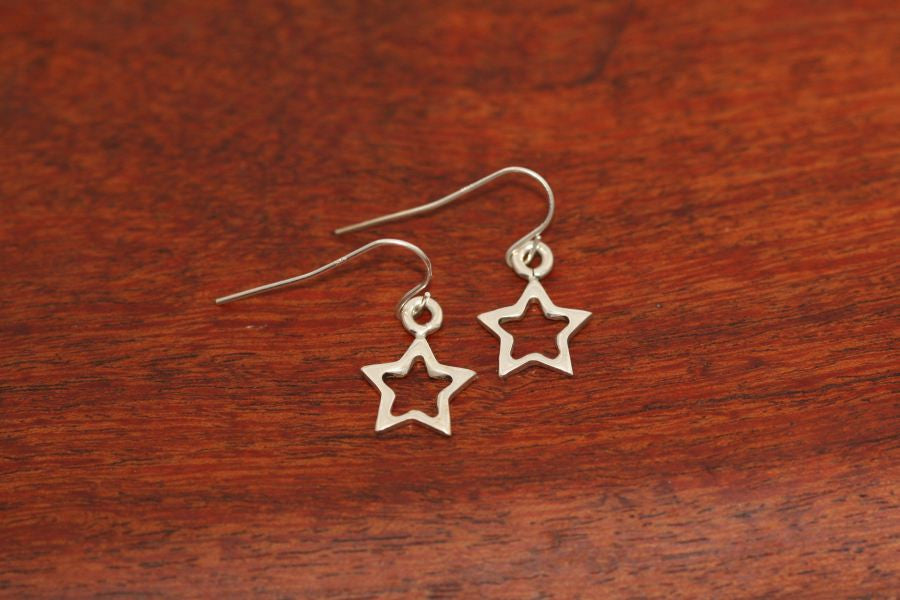 Mini Star in Star Earrings in Sterling