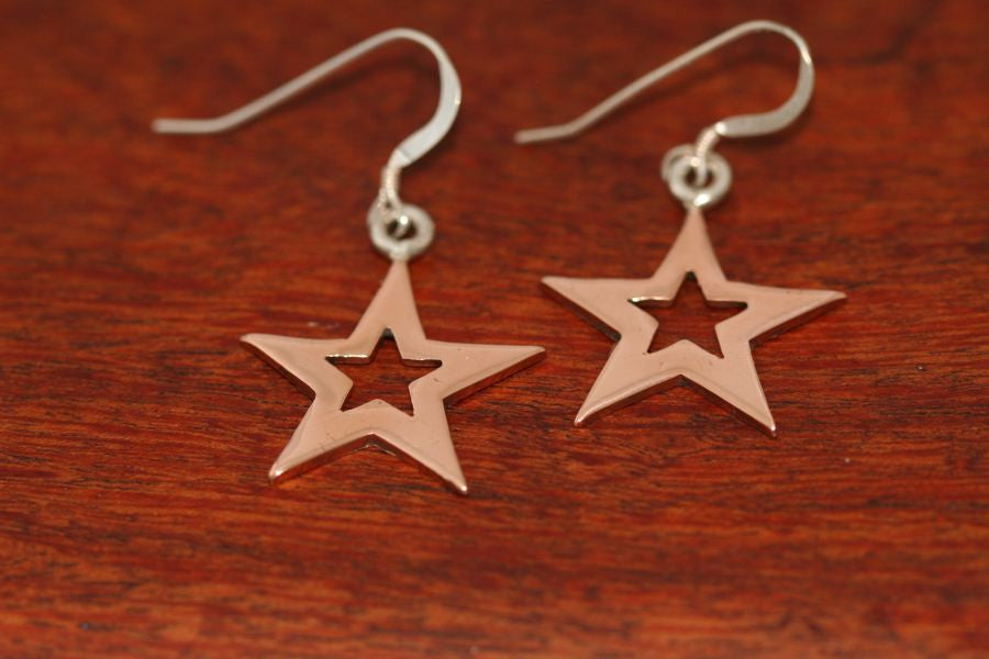 Medium Star in Star Earrings in Copper