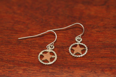 Mini Shooting Star Earrings  in Copper with Rope Trim in Sterling