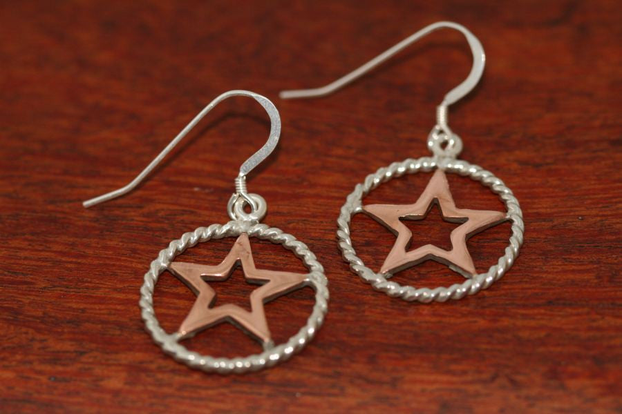 Medium Star in Star Earrings with Rope Trim in Copper