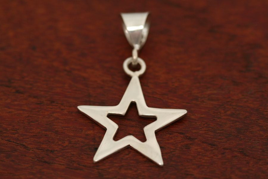 Medium Star in Star Pendant in Sterling