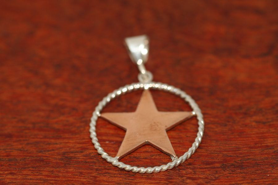 Medium Shooting Star Pendant  in Copper with Rope Trim in Sterling