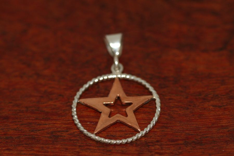 Medium Star in Star Pendant  in Copper with Rope Trim in Sterling