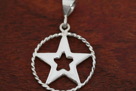 Mediuim Star in Star Pendant with Rope Trim in Sterling