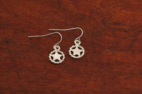 Mini Shooting Star Earrings with Rope Trim in Sterling