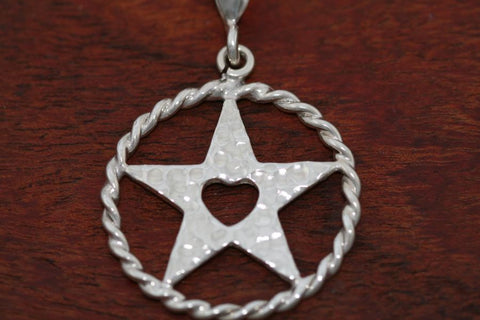 Medium Shooting Star Pendant with Rope Trim in Sterling