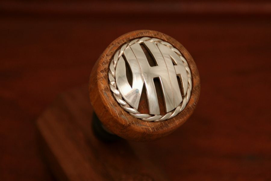 Monogram Wine Stopper using Cinco Peso Coin with Rope Trim